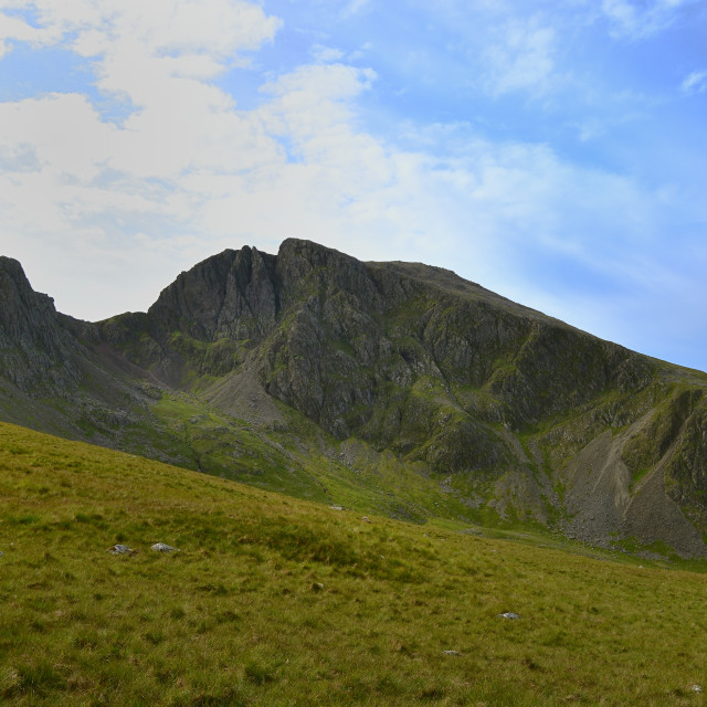 """""""The steep outcrops of Sca Fell"""" stock image"""