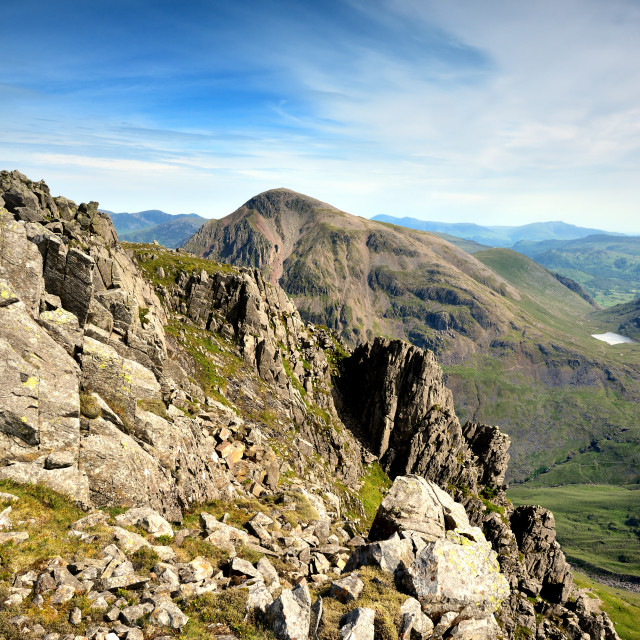 """""""Stunning view from the summit of Lingmell Fell"""" stock image"""