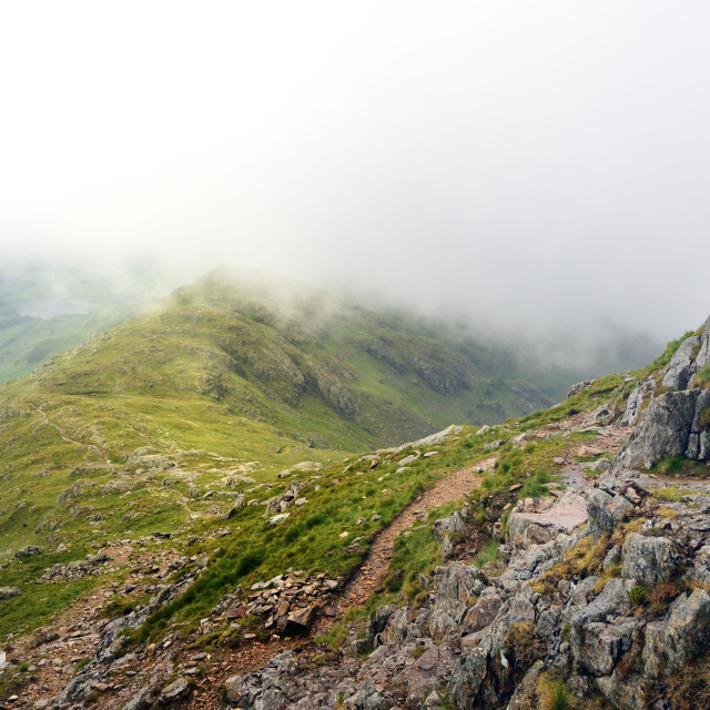 """""""Low clouds on Wetherlam Edge"""" stock image"""