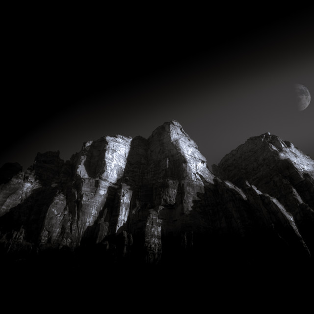 """Mountain Peaks with Moon"" stock image"