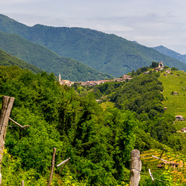 """Panorama of Prosecco wine region, Combai village"" stock image"