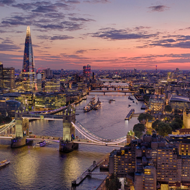 """""""The summer sky sets over the city of London"""" stock image"""