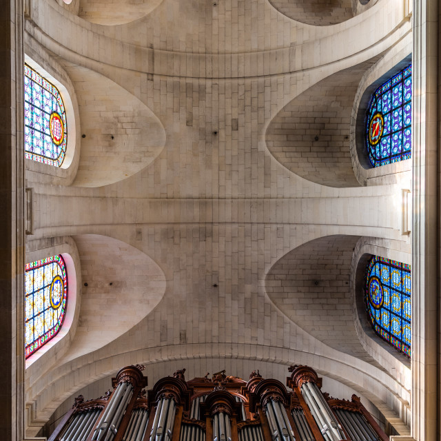 """""""Interior view of the vaults of La Rochelle Cathedral"""" stock image"""