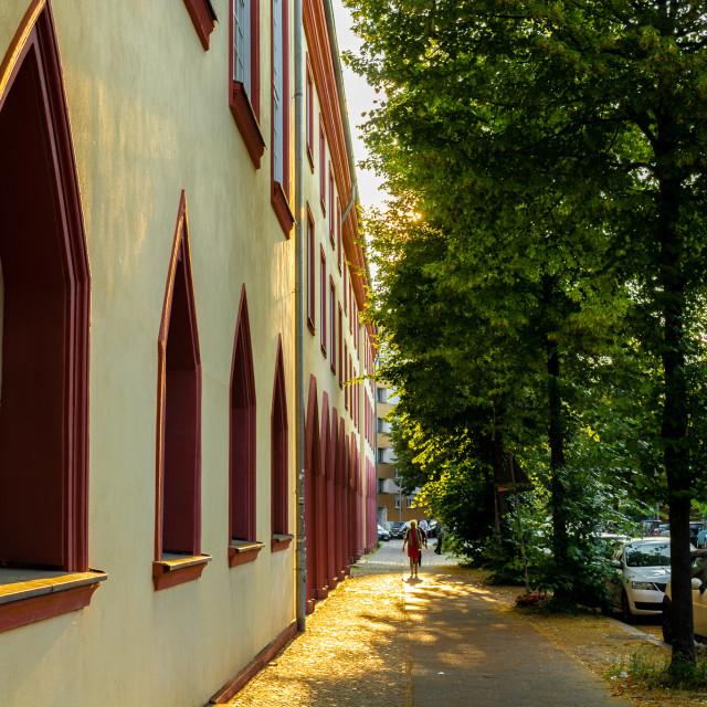 """Evening glow on a Berlin backstreet"" stock image"