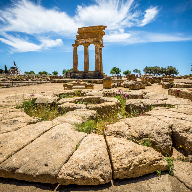 """""""Temple of Castor and Pollux, Valley of the Temples, Agrigento, Sicily, Italy. UNESCO World Heritage Site, world's largest archaeological site, among the most outstanding examples of greek architecture"""" stock image"""