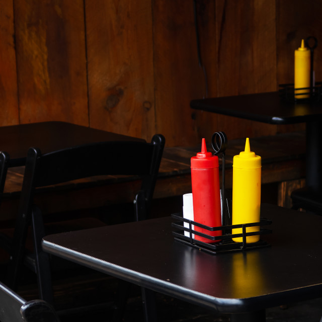 """""""Tables and Condiments"""" stock image"""
