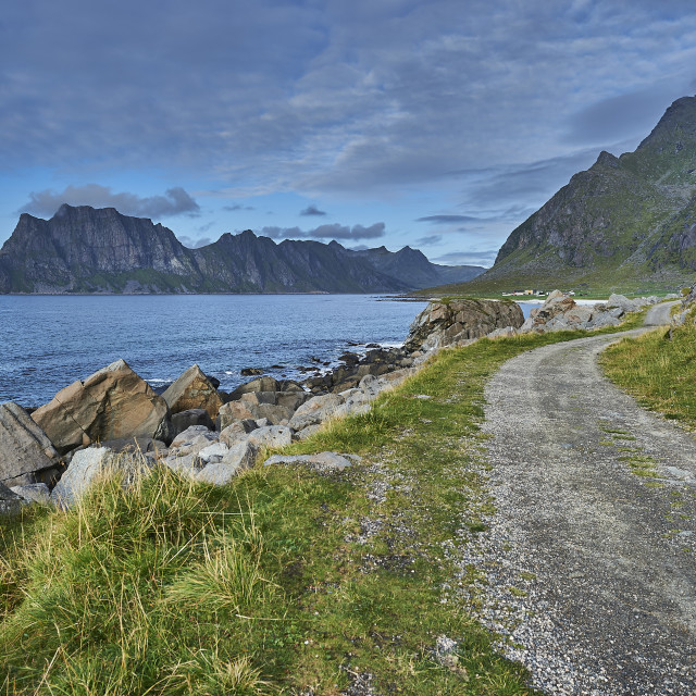 """The Old Road to Utakleiv"" stock image"