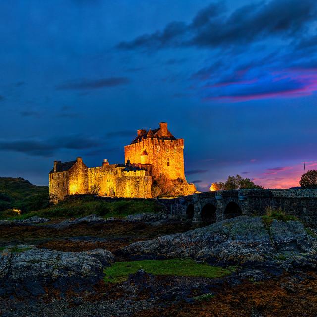 """""""Floodlit Eilean Donan Castle"""" stock image"""
