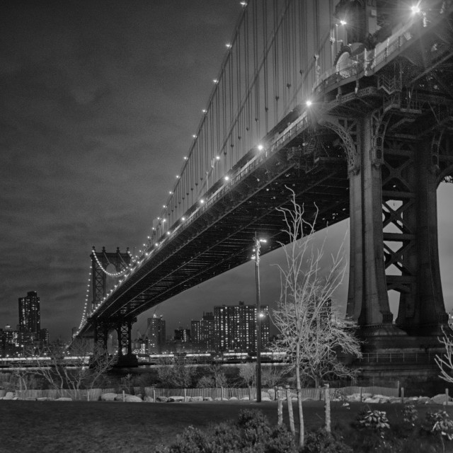 """Manhattan Bridge in the Dark"" stock image"