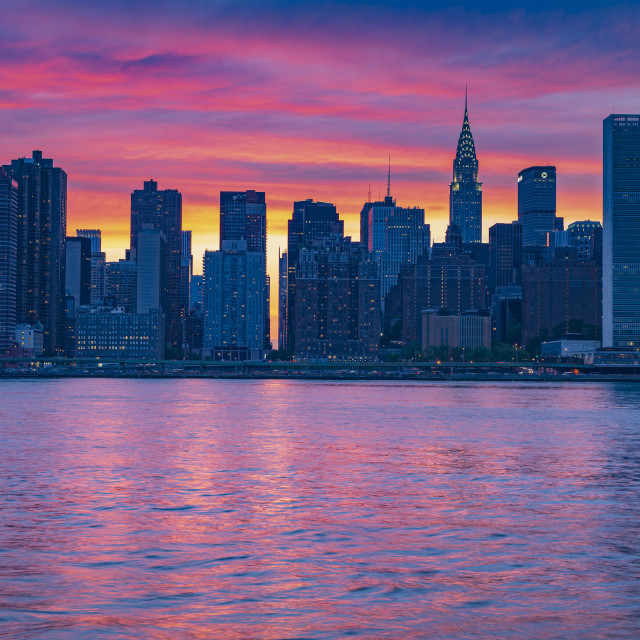 """Midtown Manhattan Spring Sunset"" stock image"