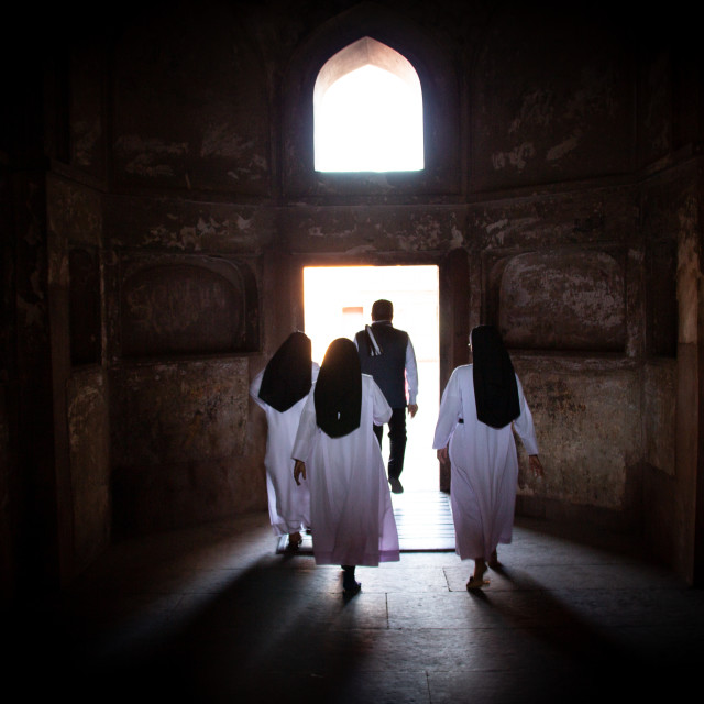 """""""Streetscene with nuns in Agra"""" stock image"""