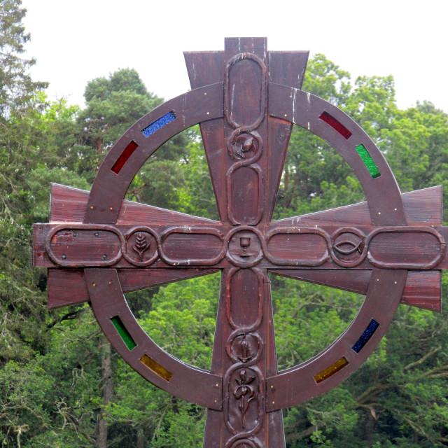 """Celtic cross sculpture at Luss"" stock image"