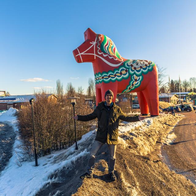 """""""Avesta - March 29, 2018: Travelers at the Dalarna horse in Avesta, Sweden"""" stock image"""