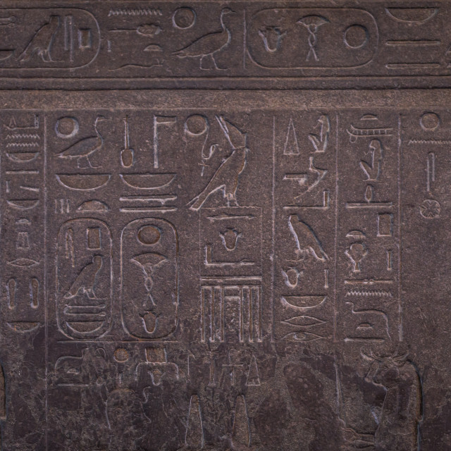 """""""London - August 06, 2018: Ancient Egyptian hieroglyphs in the Brtitish Museum..."""" stock image"""