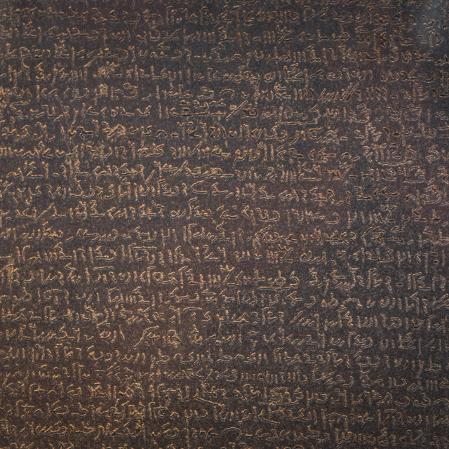 """""""London - August 06, 2018: Details of the Rosetta Stone in the Brtitish Museum..."""" stock image"""