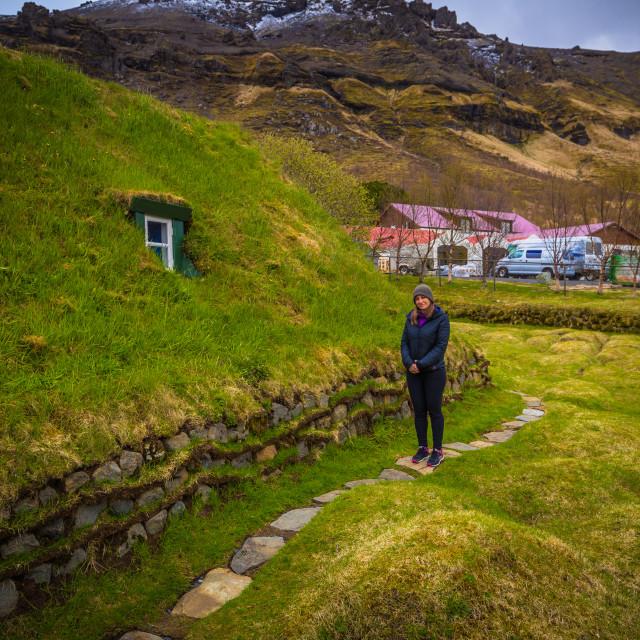 """""""Hof - May 05, 2018: Turf church in the town of Hof, Iceland"""" stock image"""