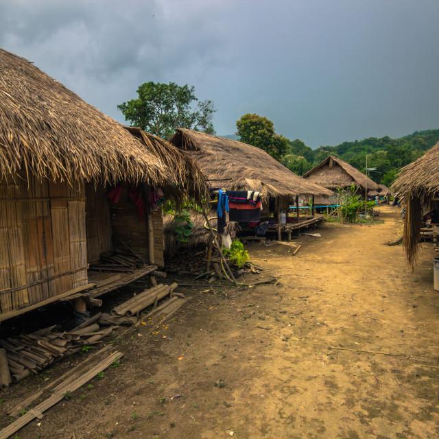 """Mae Hong Son - October 18, 2014: Long neck village of Mae Hong Son, Thailand"" stock image"