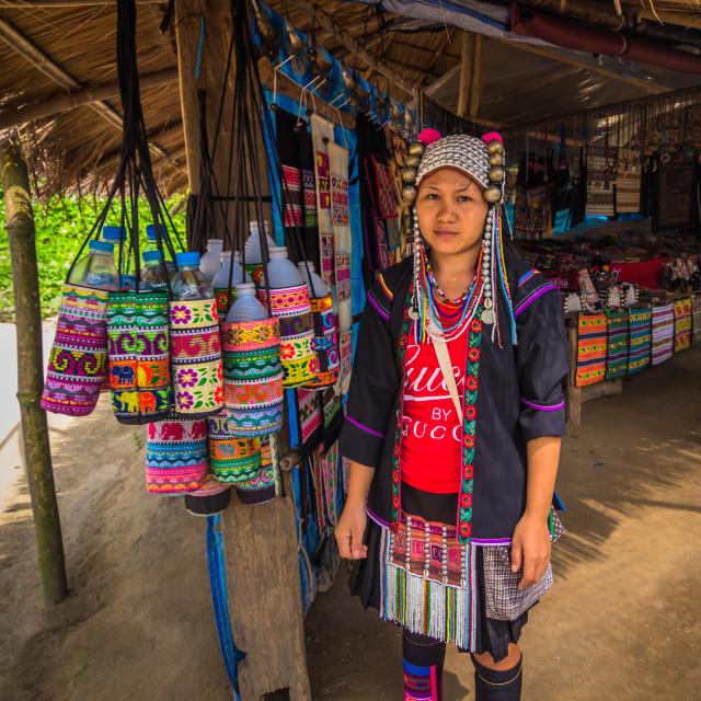 """Mae Hong Son - October 18, 2014: People of the long neck village of Mae Hong..."" stock image"