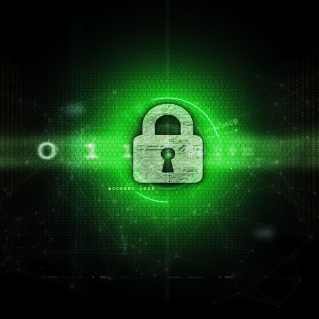 """Network and computer security and privacy - dark green"" stock image"