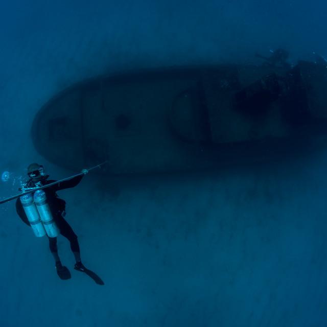 """""""Mergulhador e um Naufrágio"""" stock image"""