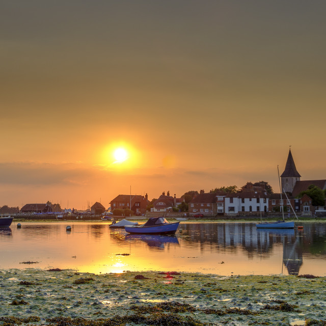"""Summer sunset over Bosham Harbour and village with the church sp"" stock image"