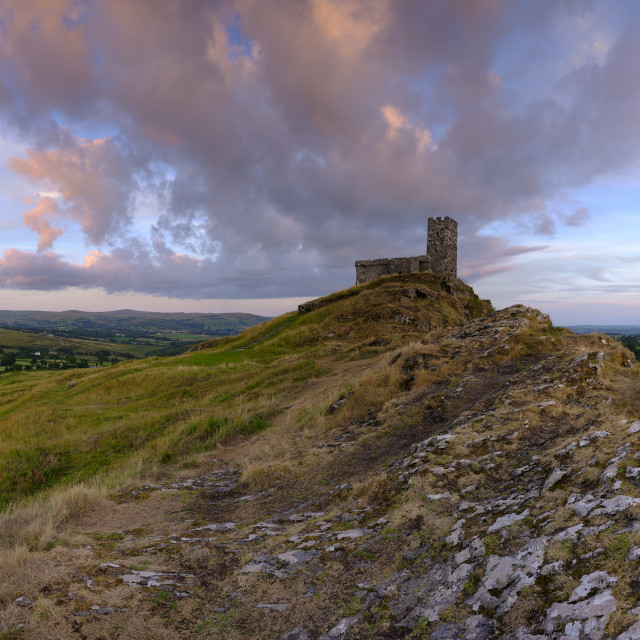 """""""Summer sunset over Brentor, with the church of St Michael de Rup"""" stock image"""