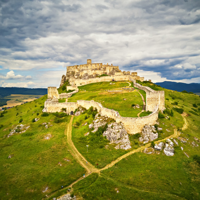 """Aerial view of Spis (Spiš, Spišský) castle in summer"" stock image"