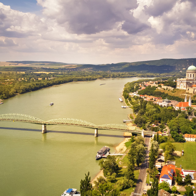 """""""View from Esztergom Basilica is an ecclesiastic basilica in Eszt"""" stock image"""