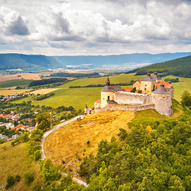"""""""Aerial view of Krasna Horka castle in summer"""" stock image"""