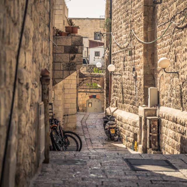 """Jerusalem - October 04, 2018: Ancient corridors in the old City of Jerusalem,..."" stock image"