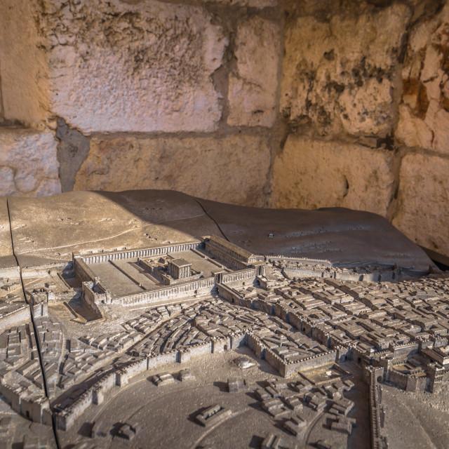 """Jerusalem - October 03, 2018: Miniature of the ancient city of Jerusalem in..."" stock image"