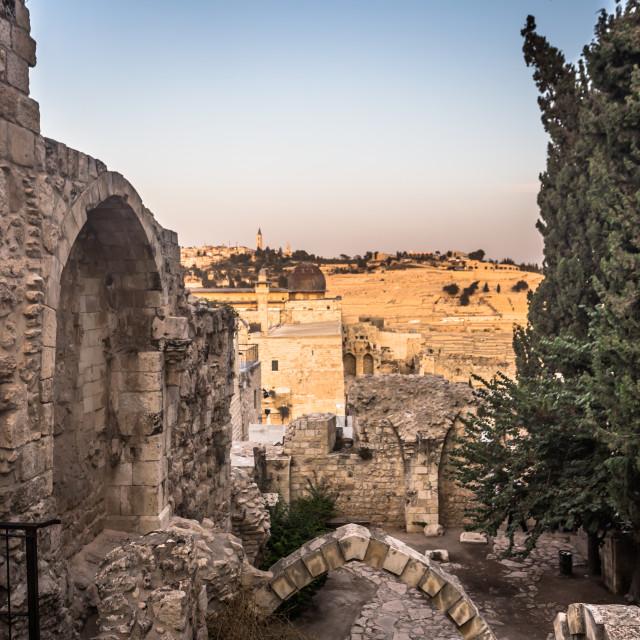 """Jerusalem - October 03, 2018: Ruins of ancient Jerusalem in the old City of..."" stock image"