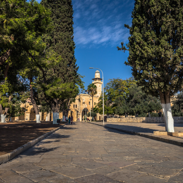 """""""Jerusalem - October 04, 2018: Ancient monuments near the Dome of the Rock in..."""" stock image"""