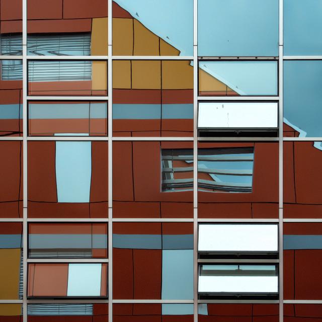 """Office Reflections, Ljubiana"" stock image"