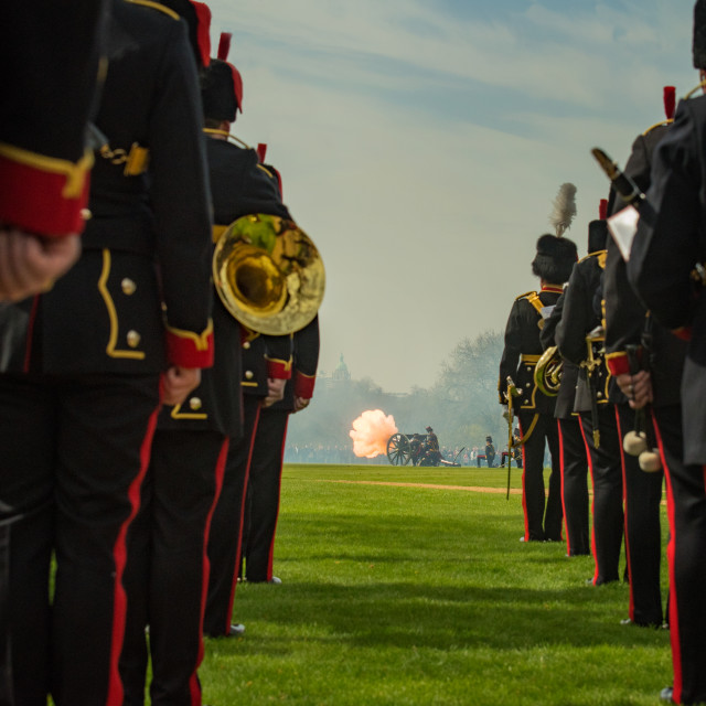 """""""One of the 41 guns salutes at Queen's 90th Birthday"""" stock image"""