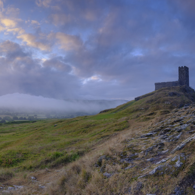 """""""Summer sunrise on Brentor showning St Michael's church atop the"""" stock image"""