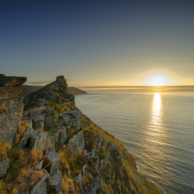 """""""Summer sunset over the Valley of Rocks, near Lynton in the Exmoo"""" stock image"""