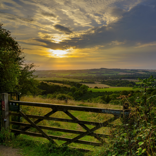 """""""Summer sunset over Beacon Hill from the weather station on Old W"""" stock image"""