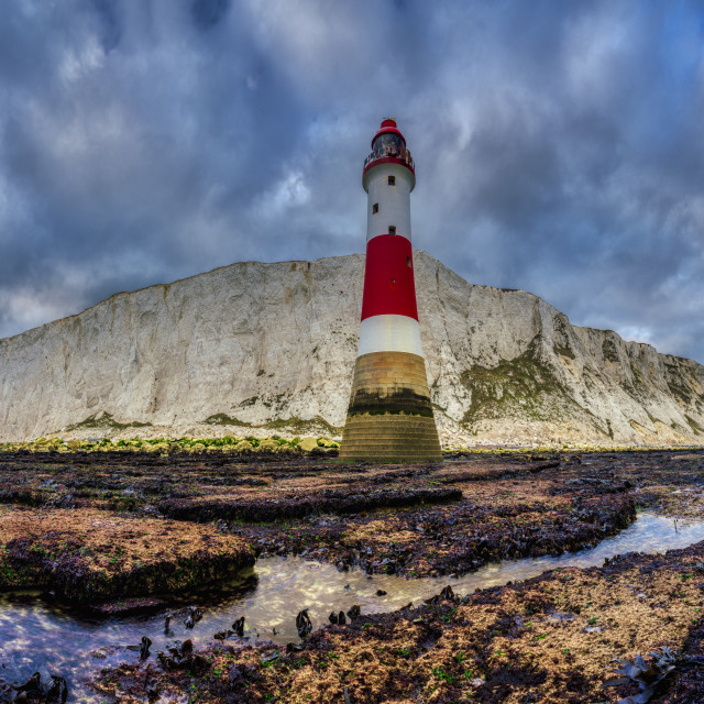 """""""Beachy Head Light from a low vantage point - a stitched panorama"""" stock image"""