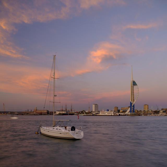 """""""Autumn sunset light on the Portsmouth waterfront, Hampshire, UK"""" stock image"""