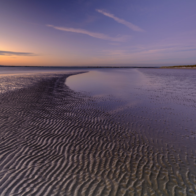 """""""Autumn sunset over the Solent from West Wittering Beach, West Sussex. UK"""" stock image"""