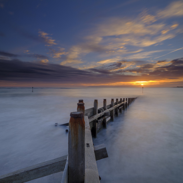 """""""Autumn sunset from West Wittering Beach, West Sussex, UK"""" stock image"""