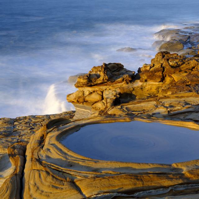 """Putty Beach at sunrise, Bouddi National Park, NSW, Australia"" stock image"