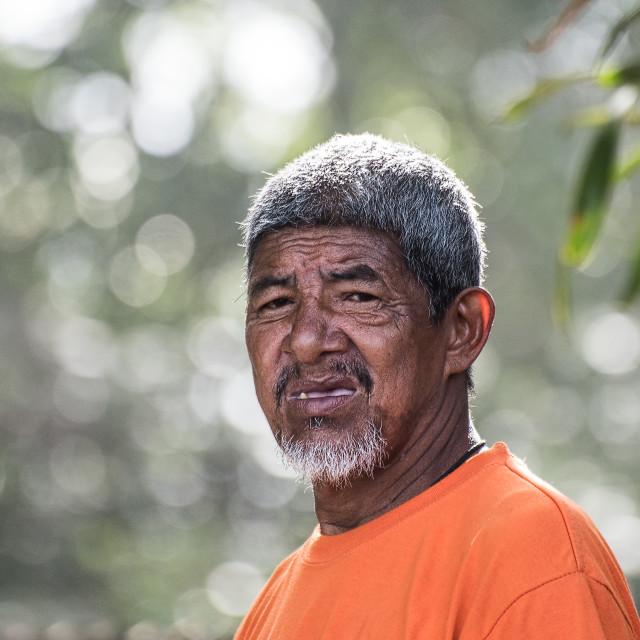"""Old Fisherman, Costa Rica"" stock image"