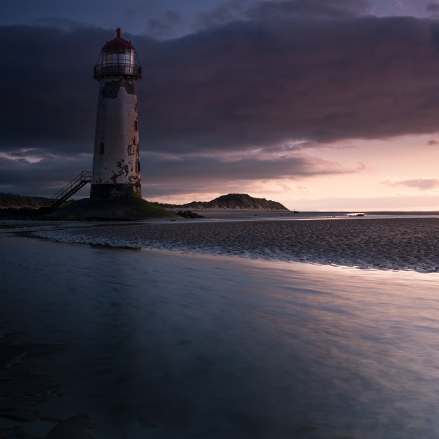 """Summer storm front, Talacre lighthouse"" stock image"
