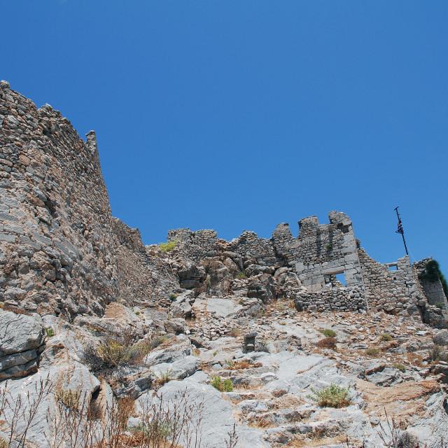 """Crusader Knights castle, Tilos island"" stock image"