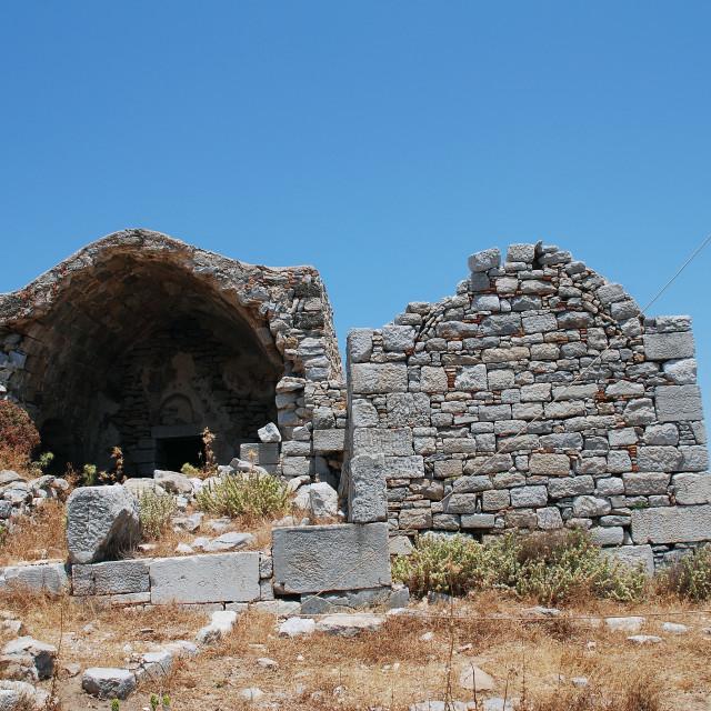 """""""Crusader castle ruins on Tilos"""" stock image"""