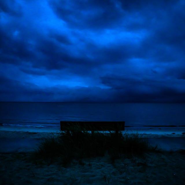 """""""Stormy Skies over Yarmouth, Massachusetts Beach"""" stock image"""