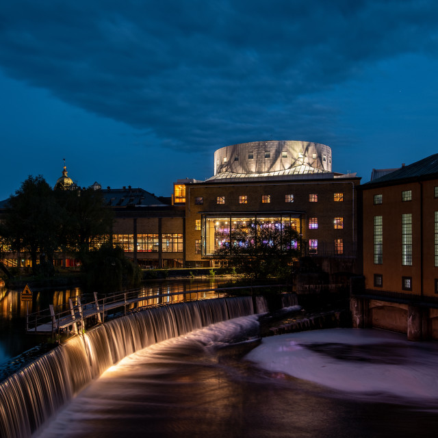 """Norrköping concert hall at night"" stock image"