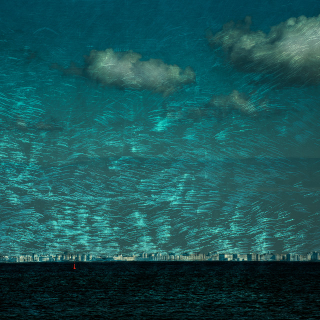 """Peterhof Landscape through the boat window"" stock image"